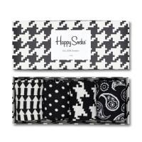 Happy Socks - Black White Geschenkbox - XBLW09 - 4 Paar